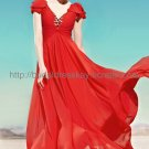 Deep V-neck Red Evening Dress Bridesmaid Dress