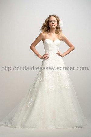 Light Ivory A line Lace Wedding Dress