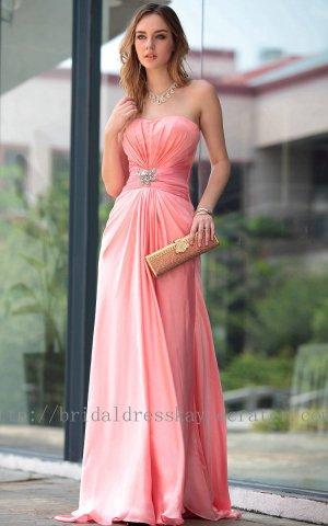 Pink Empire Prom Dress Evening Party Dress Bridesmaid Dress