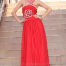 Halter Red Evening Party Dress Floor Length Bridesmaid Dress