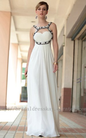 White Beaded Ball Dress Evening Party Dress Bridesmaid Dress Prom Dress