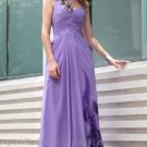 One shoulder Purple Floor Length Ball Dress V-back Evening Party Dress Prom Dress