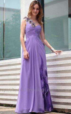 One shoulder Purple Floor Length Ball Dress V-back Evening Party Dress Prom Dress
