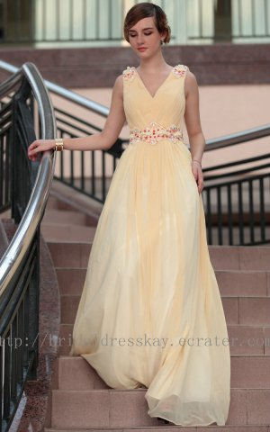 V-neck Yellow Evening Party Bridesmaid Prom Ball Dress