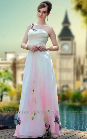 Floor Length One Shoulder Print Evening Dress Prom Party Gown