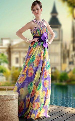 Unique Print Evening Dress Prom Party Gown
