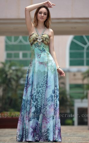 V-neck Blue Print Evening Prom Dress Party Gown