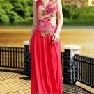 Modest China Style Embroidery Red Evening Dress Prom Party Gown