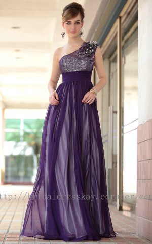 Full Length One Shoulder Purple Evening Dress Prom Party Gown