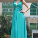 V-neck Blue Green Floor Length Bridesmaid Dress Evening Prom Party Gown