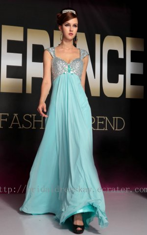 Cap Sleeve Blue Prom Dress Evening Wedding Party Bridesmaid Dress
