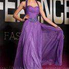 Halter Purple Prom Gown Evening Party Bridesmaid Dress