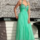 Halter Green Evening Party Prom Dress Wedding Bridesmaid Dress