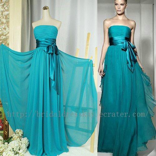 Custom simple full length blue green bridesmaid dress for Blue green wedding dress