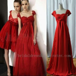 Cap Sleeve Red Floor Length Formal Evening Prom Party Dress Bridesmaid Dress