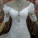 Off-shoulder Half Sleeve Lace V-neck Bridal Wedding Dress Gown