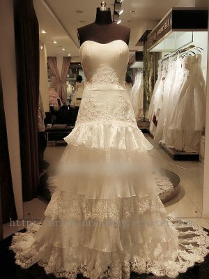 Strapless Layers Skirt Lace Bridal Wedding Dress Gown