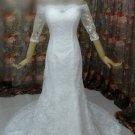 Off Shoulder Half Sleeve Lace Bridal Wedding Dress Gown