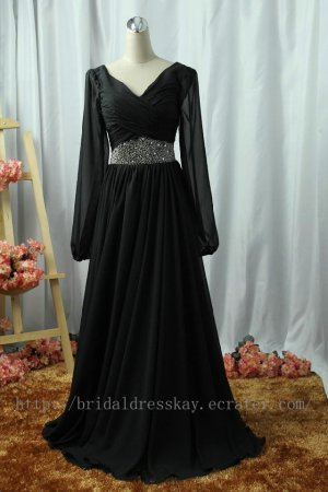 Long Sleeve Black Mother Dress