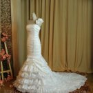 Mermaid One Shoulder Ivory Bridal Wedding Dress Gown