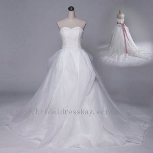 A line Lace Jacket Bridal Wedding Dress Gown with Sash