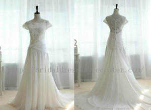 Vintage Lace Chiffon Wedding Dress Bridal Gown Cap Sleeves with Train Dress