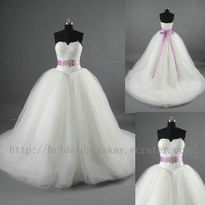 Strapless Full Length Lace & Tulle Champagne Bridal Wedding Dress