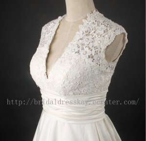 Custom Cap Sleeve Short Bridal Wedding Dress