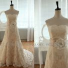 Vintage Inspired French Corded Lace Strapless Sweetheart Wedding Dress