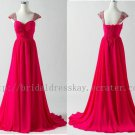 Fashion Cap Sleeve Knot Bodice Sweetheart Wedding Party Bridesmaid Dress Gown