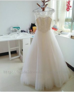 Princess Modest Sweethart Neckline Lace and Tulle Bridal Wedding Dresses