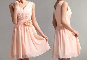 Custom v-neckline Knee Length Short Wedding Bridesmaids Dress Prom Party Dress Gown