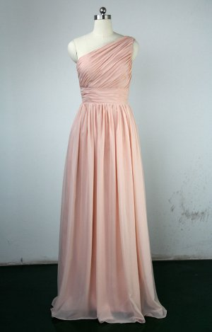Custom One Shoulder Pink Wedding Bridesmaids Dress Prom Party Dress Gown