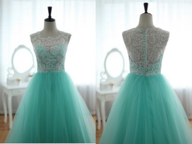 Custom Prom Ball Gown Blue Tulle Dress Turquoise Sweetheart Party Dress