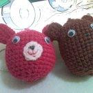 Rabbit and Bear Amigurumi Keychain
