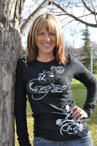 Lady Biker White Art, Long Sleeve Thermal, Black