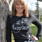 Lady Biker White Art, Long Sleeve Thermal, Black