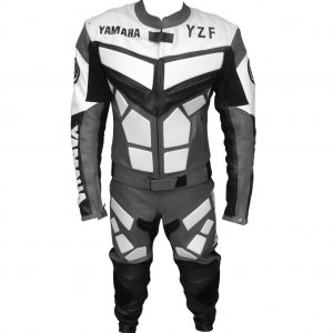 YAMAHA RACING LEATHER MOTOR BIKE MOTORCYCLE SUIT ALL SIZE WITH ANY LOGO