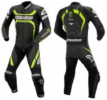 NEW ALPINE STAR MOTOR BIKE LEATHER RACING SUIT ORIGNAL COWHIDE LEATHER WITH FULL PROTECTION