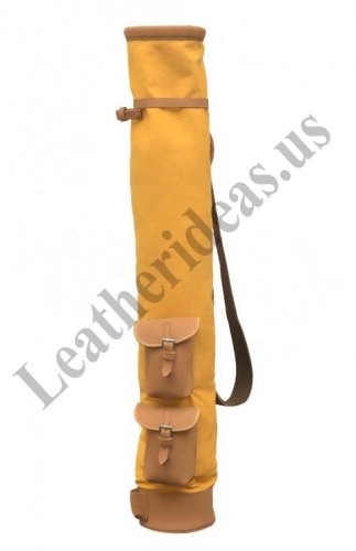 Tan Cowhide Leather Canvas Golf Club Ball Bag Two Pockets H-34 inch D-5.5 inch