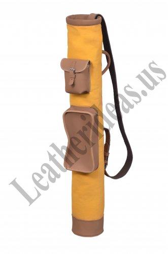 Tan Cowhide Leather Canvas Golf Club Ball Bag Big Pockets H-34 inch D5.5 inch