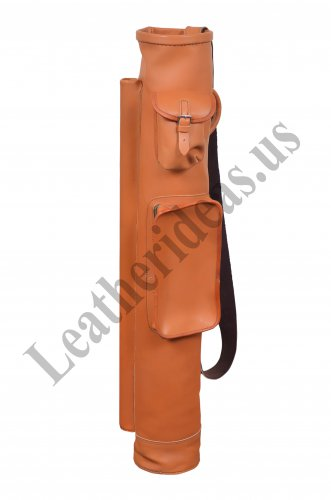 VINTAGE RETRO STYLE TAN LEATHER TUBE GOLF CLUB CARRYING BAG WITH BIG POCKET