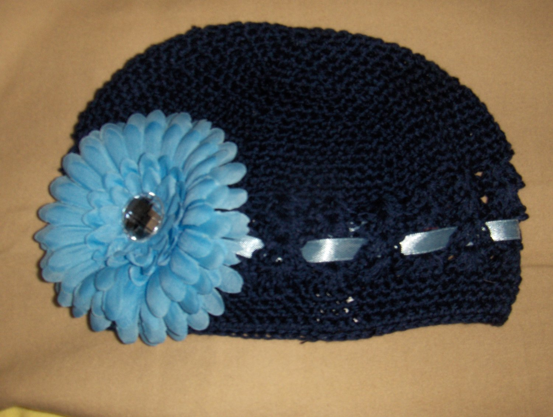 Navy Blue Crochet Hat with Blue Flower