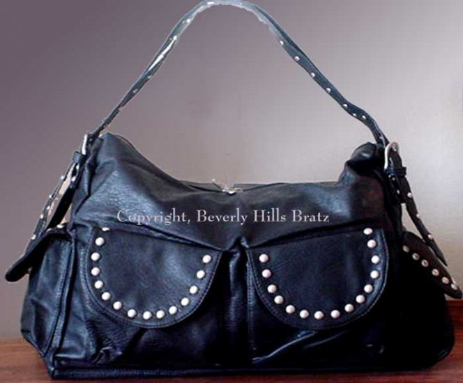 Studded Satchel, Black  FREE Shipping