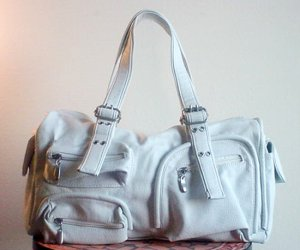Leather Legacy Pocket Satchel, White FREE Shipping
