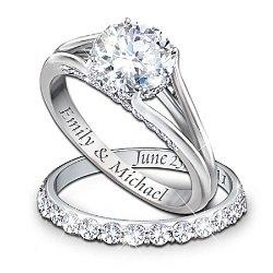 Diamond Personalized Engagement Ring And Wedding Band Set