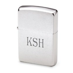 Personalized Zippo Brushed Satin Chrome Lighter Gift