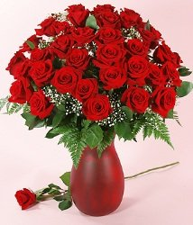 Three Dozen Long Stemmed Red Roses with Ruby Vase