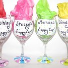 Name Your Glass Stripes And PolkaDots Hand Painted Wine Glasses Choose Your Colors