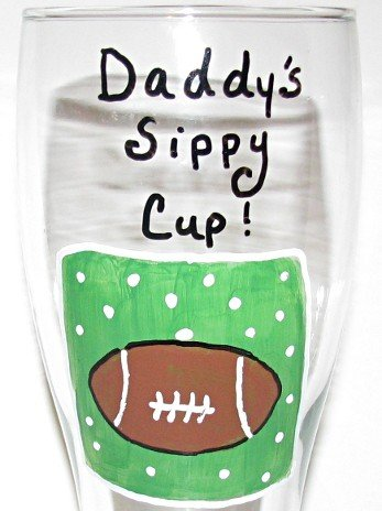 Daddys Sippy Cup Football Themed Hand Painted Beer Pilsner Choose Your Favorite Team Colors